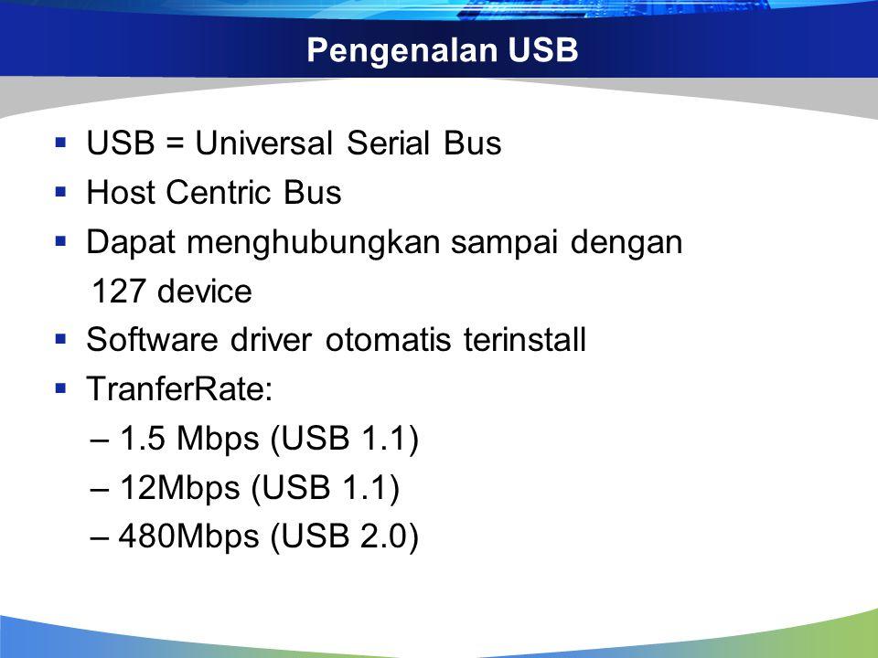 Pengenalan USB USB = Universal Serial Bus. Host Centric Bus. Dapat menghubungkan sampai dengan. 127 device.