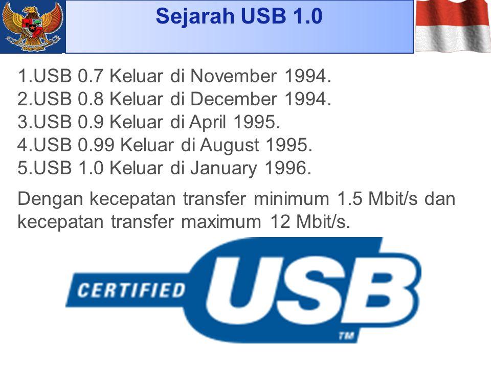 Sejarah USB 1.0 USB 0.7 Keluar di November 1994.