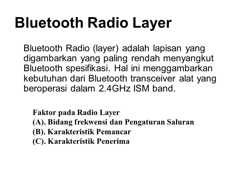 Bluetooth Radio Layer