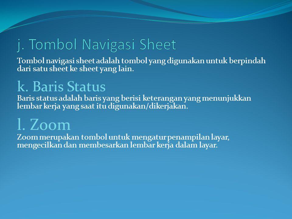 j. Tombol Navigasi Sheet