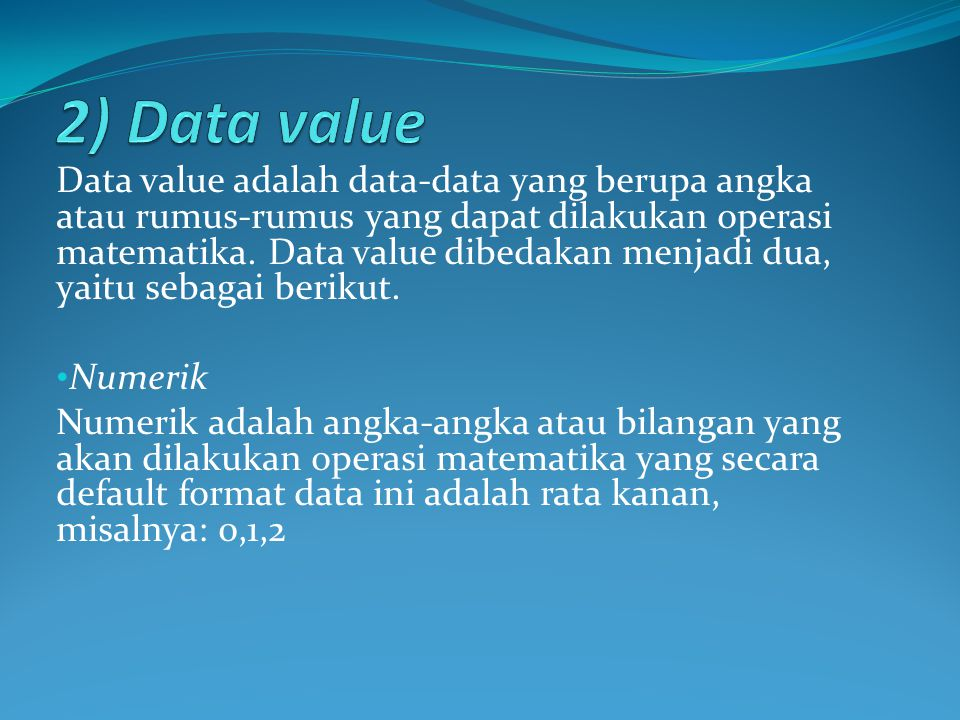 2) Data value