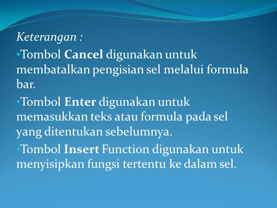 Keterangan : Tombol Cancel digunakan untuk membatalkan pengisian sel melalui formula bar.