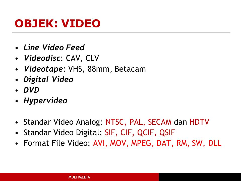 OBJEK: VIDEO Line Video Feed Videodisc: CAV, CLV