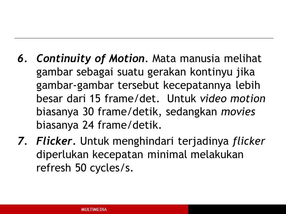 Continuity of Motion. Mata manusia melihat gambar sebagai suatu gerakan kontinyu jika gambar-gambar tersebut kecepatannya lebih besar dari 15 frame/det. Untuk video motion biasanya 30 frame/detik, sedangkan movies biasanya 24 frame/detik.