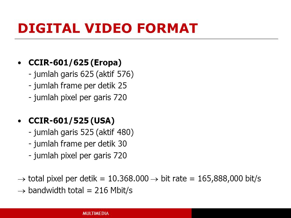 DIGITAL VIDEO FORMAT CCIR-601/625 (Eropa)