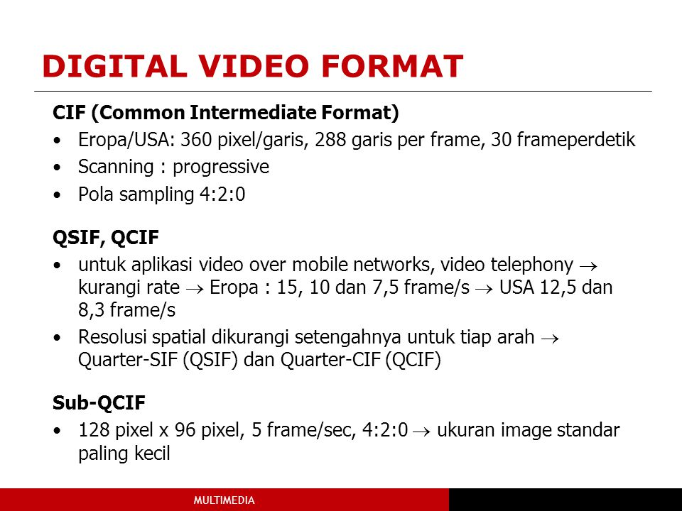 DIGITAL VIDEO FORMAT CIF (Common Intermediate Format)
