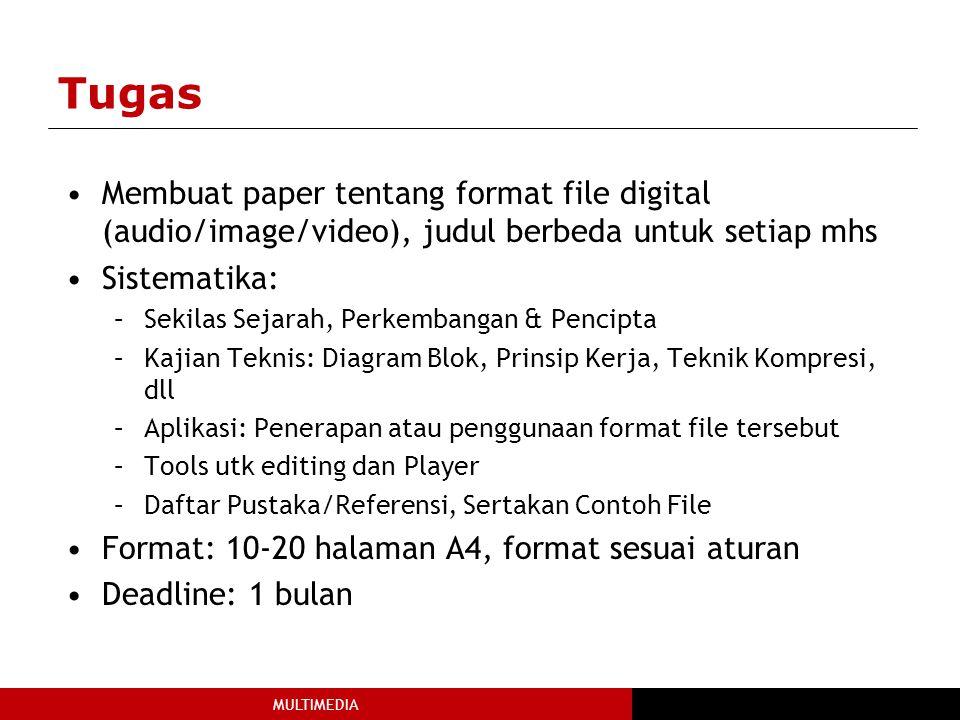 Tugas Membuat paper tentang format file digital (audio/image/video), judul berbeda untuk setiap mhs.