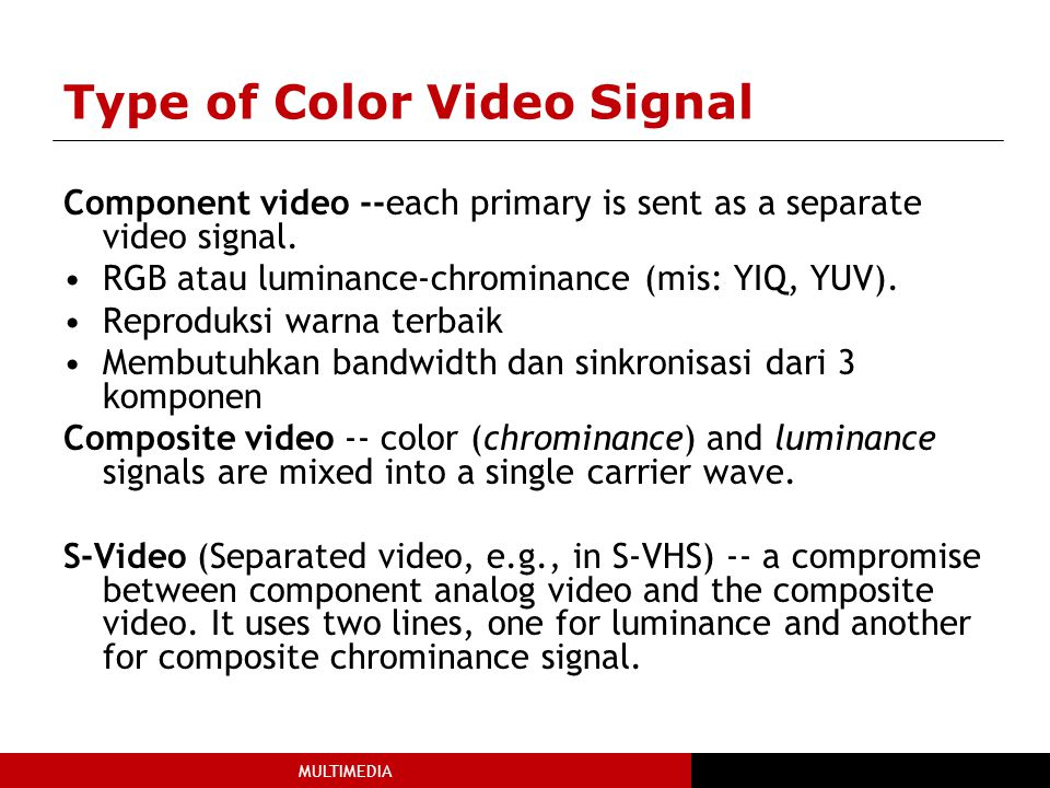Type of Color Video Signal
