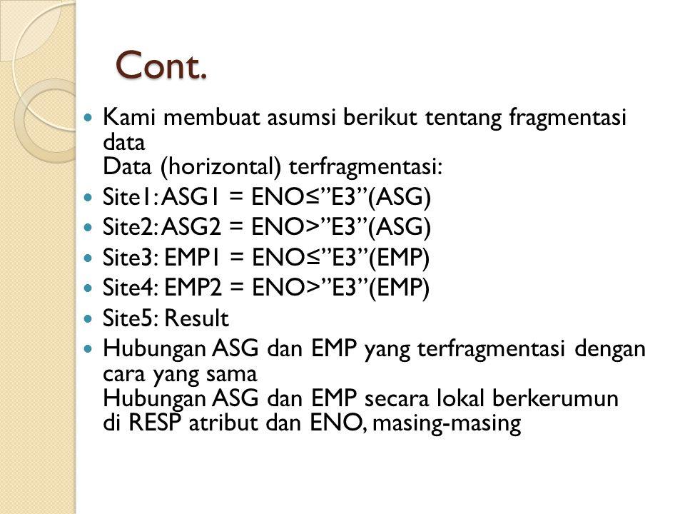 Cont. Kami membuat asumsi berikut tentang fragmentasi data Data (horizontal) terfragmentasi: Site1: ASG1 = ENO≤ E3 (ASG)