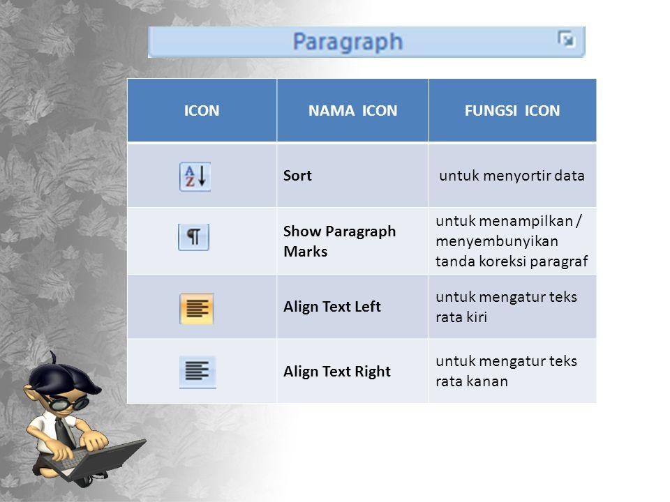 ICON NAMA ICON. FUNGSI ICON. Sort. untuk menyortir data. Show Paragraph Marks. untuk menampilkan / menyembunyikan tanda koreksi paragraf.