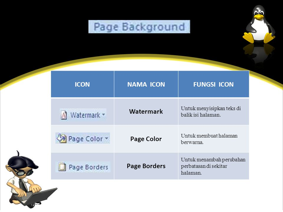 ICON NAMA ICON FUNGSI ICON Watermark Page Color Page Borders