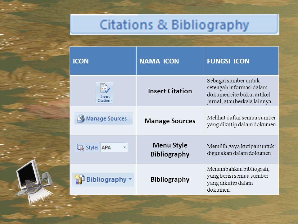 Menu Style Bibliography