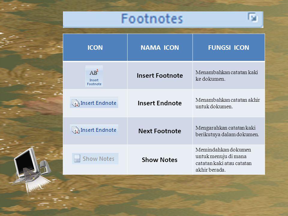 ICON NAMA ICON FUNGSI ICON Insert Footnote Insert Endnote
