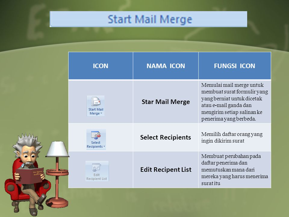 ICON NAMA ICON FUNGSI ICON Star Mail Merge Select Recipients