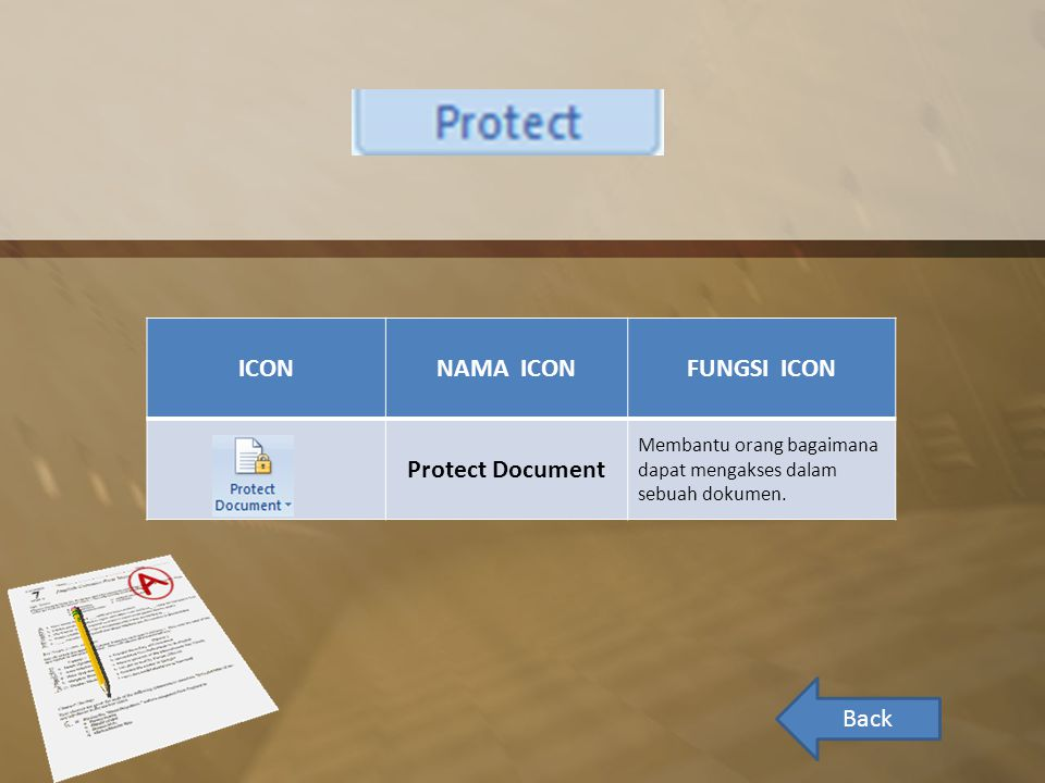 ICON NAMA ICON FUNGSI ICON Protect Document