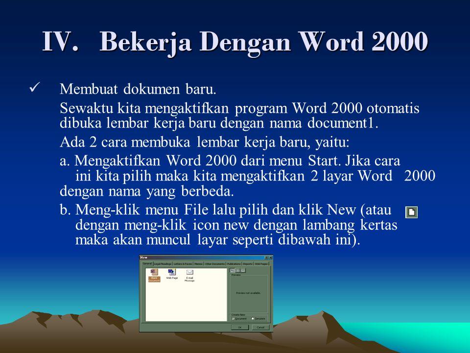 Bekerja Dengan Word 2000 Membuat dokumen baru.
