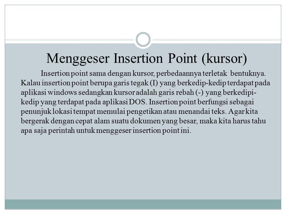 Menggeser Insertion Point (kursor) Insertion point sama dengan kursor, perbedaannya terletak bentuknya.