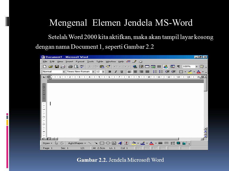 Mengenal Elemen Jendela MS-Word Setelah Word 2000 kita aktifkan, maka akan tampil layar kosong dengan nama Document 1, seperti Gambar 2.2