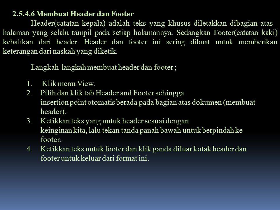 2.5.4.6 Membuat Header dan Footer