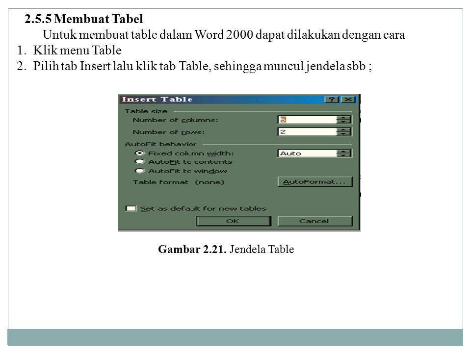 Untuk membuat table dalam Word 2000 dapat dilakukan dengan cara