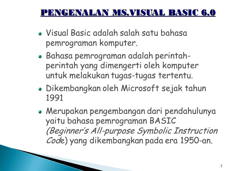 PENGENALAN MS.VISUAL BASIC 6.0