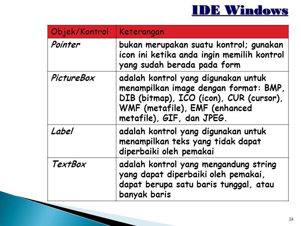 IDE Windows Objek/Kontrol Keterangan Pointer