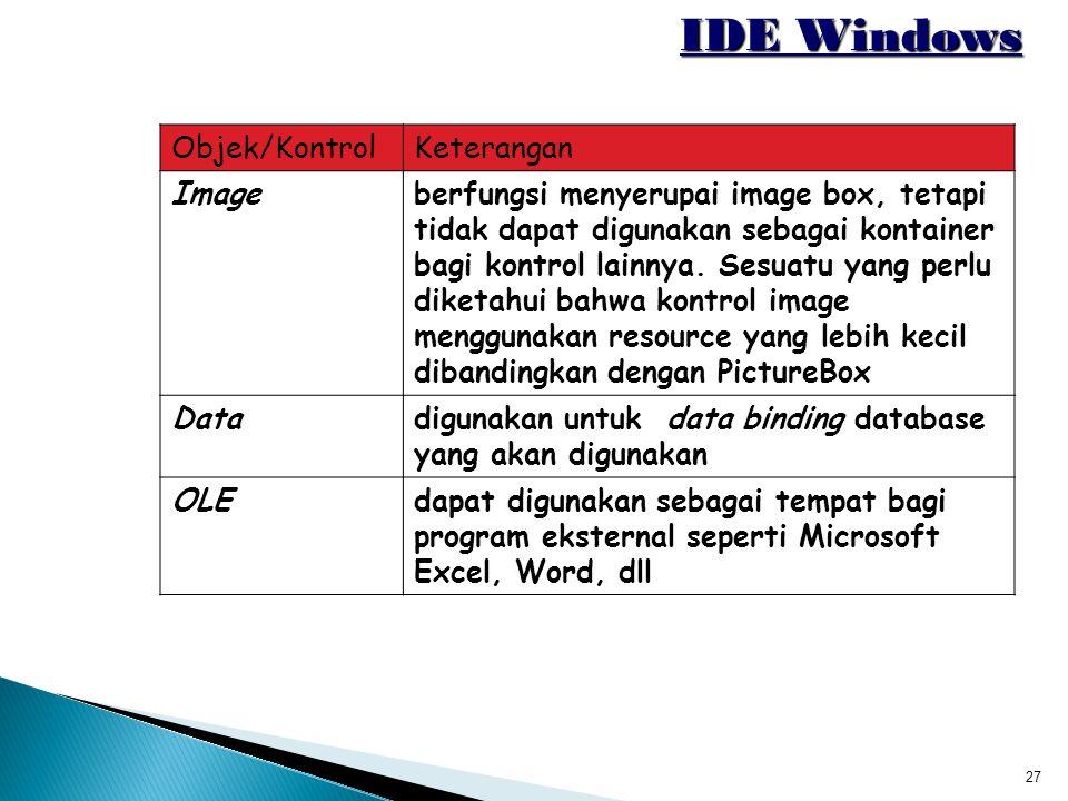 IDE Windows Objek/Kontrol Keterangan Image