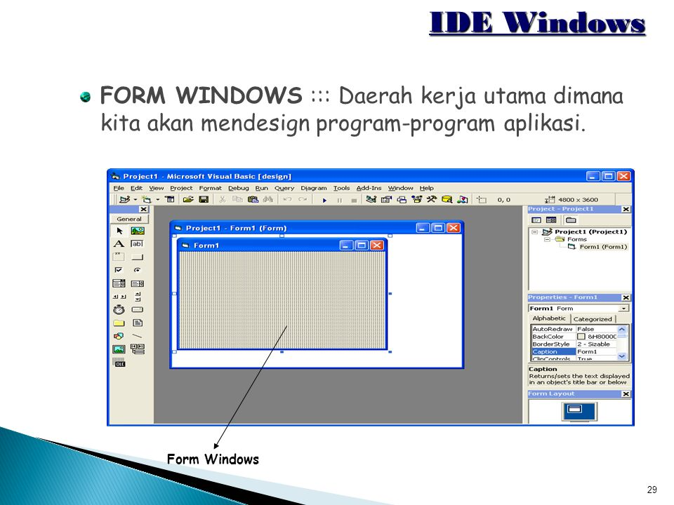IDE Windows FORM WINDOWS ::: Daerah kerja utama dimana kita akan mendesign program-program aplikasi.