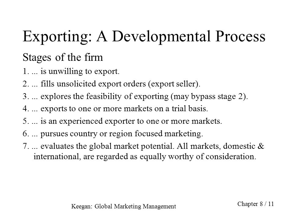 Exporting: A Developmental Process