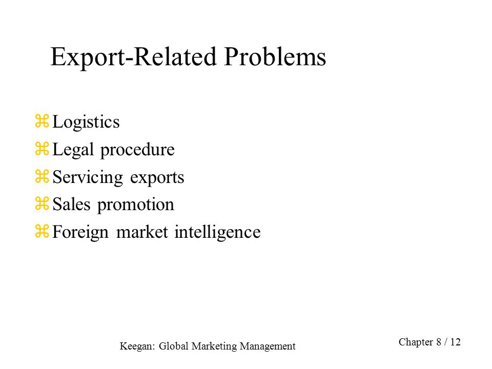 Export-Related Problems