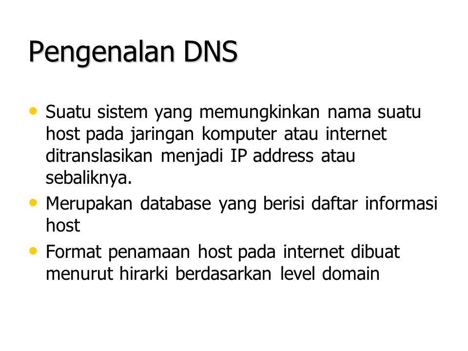Pengenalan DNS Suatu sistem yang memungkinkan nama suatu host pada jaringan komputer atau internet ditranslasikan menjadi IP address atau sebaliknya.
