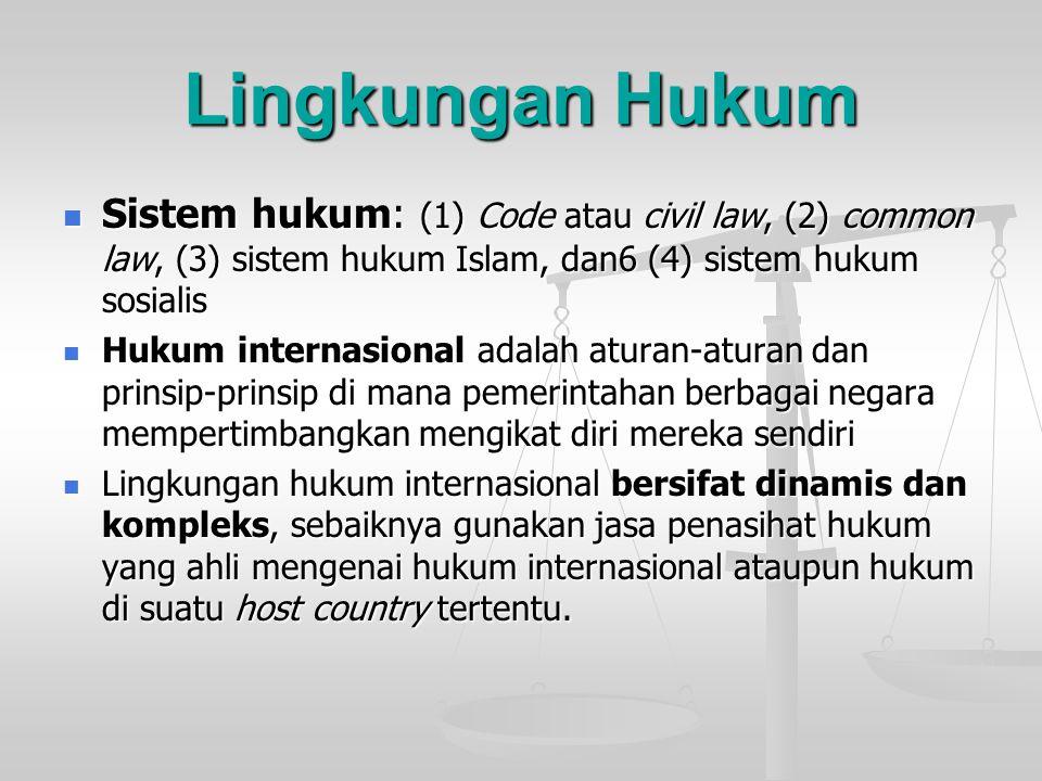 Lingkungan Hukum Sistem hukum: (1) Code atau civil law, (2) common law, (3) sistem hukum Islam, dan6 (4) sistem hukum sosialis.