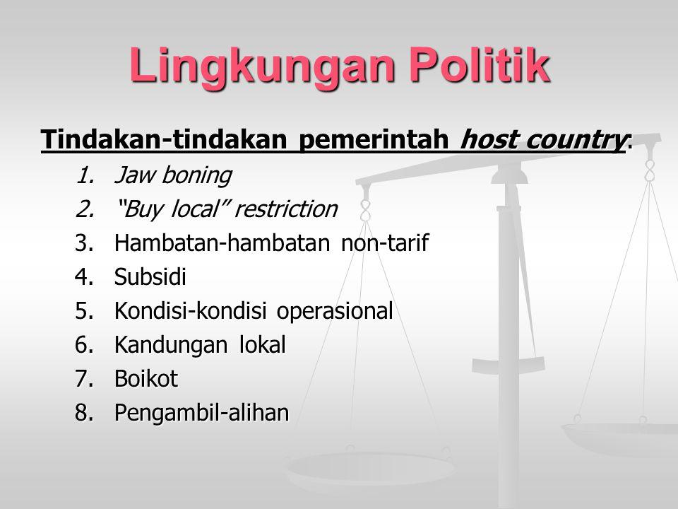 Lingkungan Politik Tindakan-tindakan pemerintah host country: