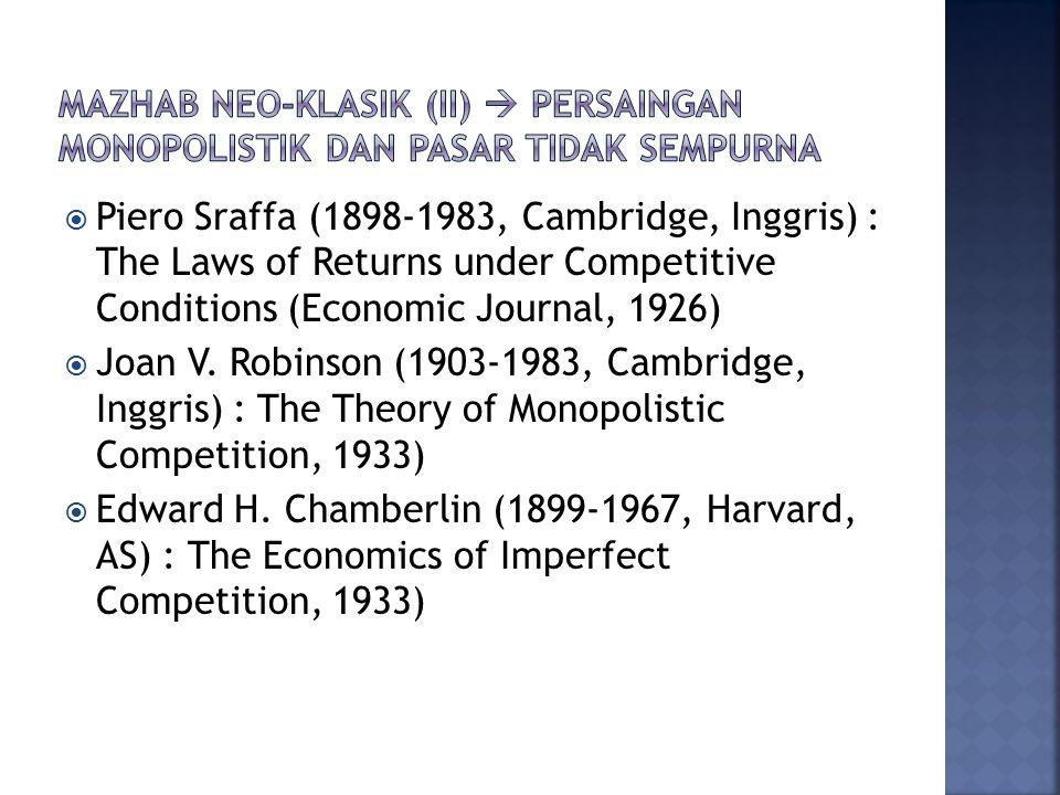 Mazhab neo-klasik (ii)  persaingan monopolistik dan pasar tidak sempurna