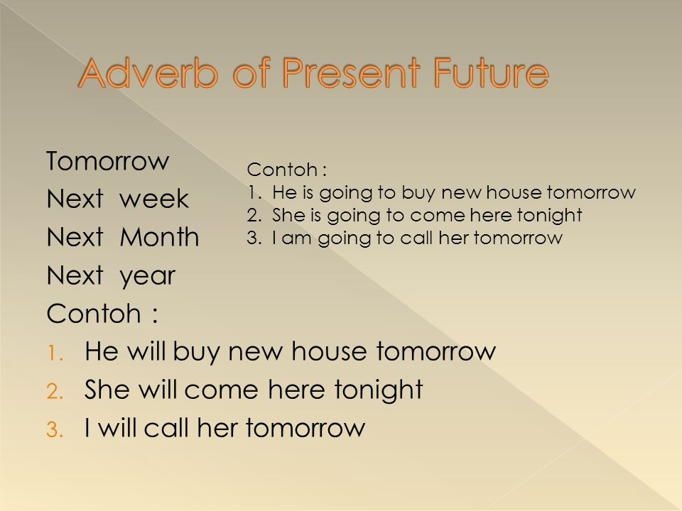 Adverb of Present Future