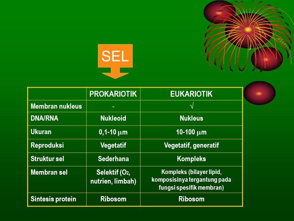 Selektif (O2, nutrien, limbah)