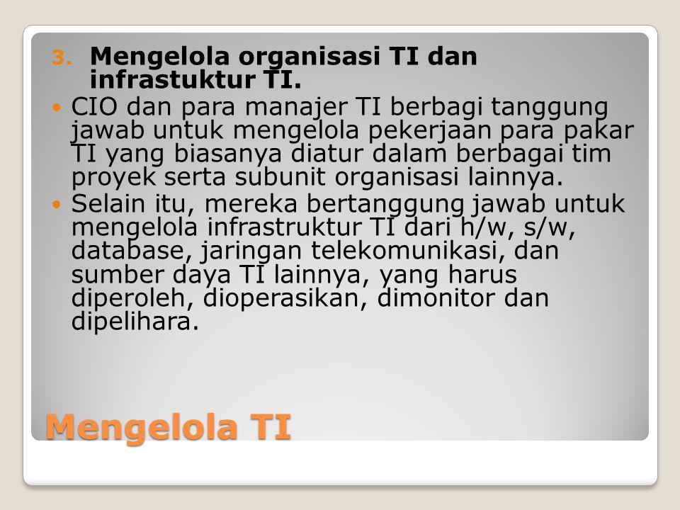 Mengelola TI Mengelola organisasi TI dan infrastuktur TI.