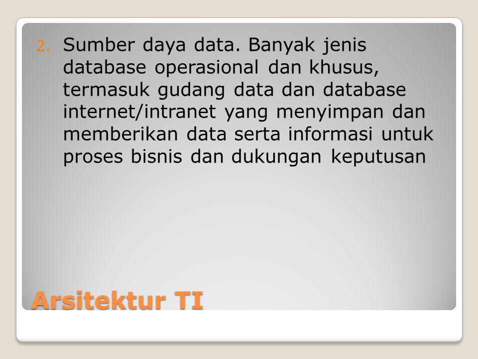 Sumber daya data. Banyak jenis database operasional dan khusus, termasuk gudang data dan database internet/intranet yang menyimpan dan memberikan data serta informasi untuk proses bisnis dan dukungan keputusan