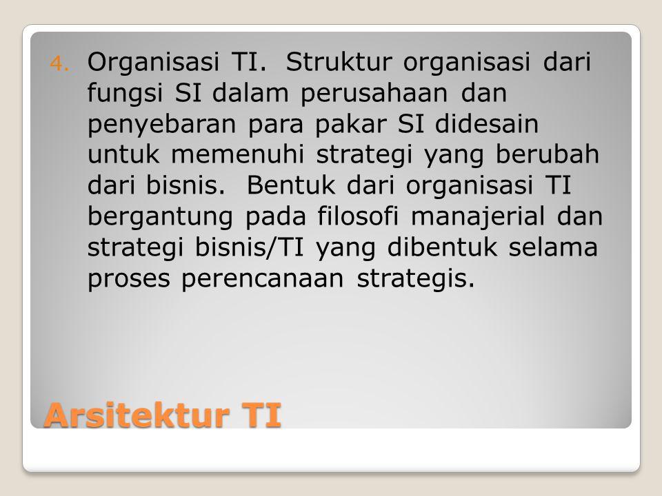 Organisasi TI. Struktur organisasi dari fungsi SI dalam perusahaan dan penyebaran para pakar SI didesain untuk memenuhi strategi yang berubah dari bisnis. Bentuk dari organisasi TI bergantung pada filosofi manajerial dan strategi bisnis/TI yang dibentuk selama proses perencanaan strategis.