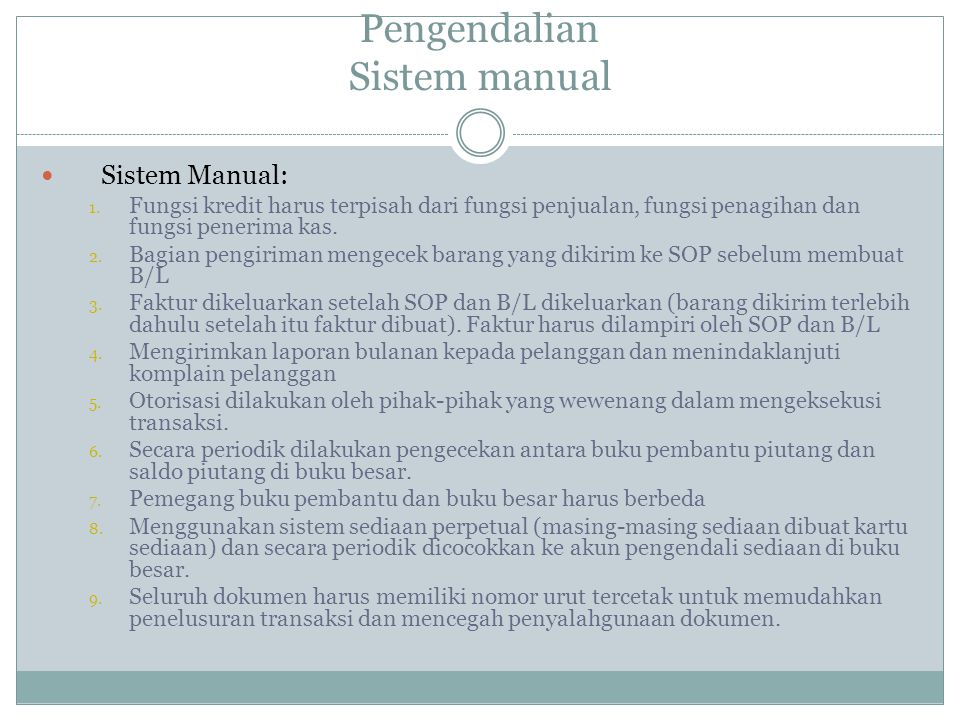 Pengendalian Sistem manual