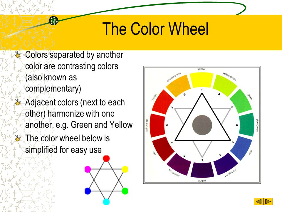 The Color Wheel Colors separated by another color are contrasting colors (also known as complementary)