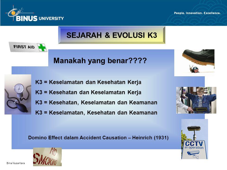 SEJARAH & EVOLUSI K3 Manakah yang benar