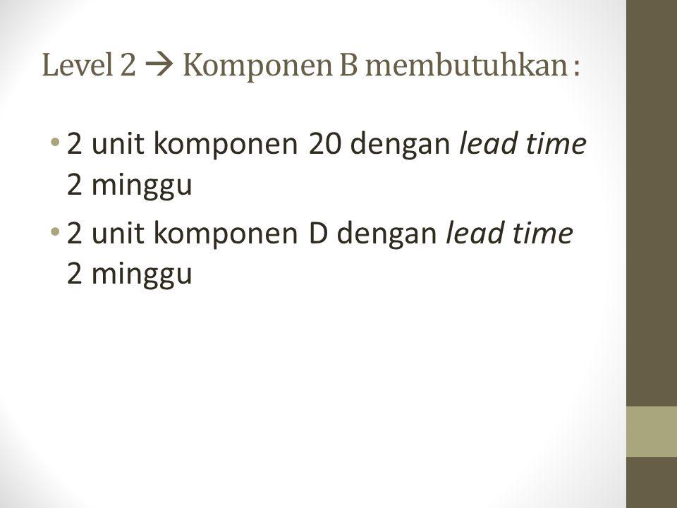 Level 2  Komponen B membutuhkan :