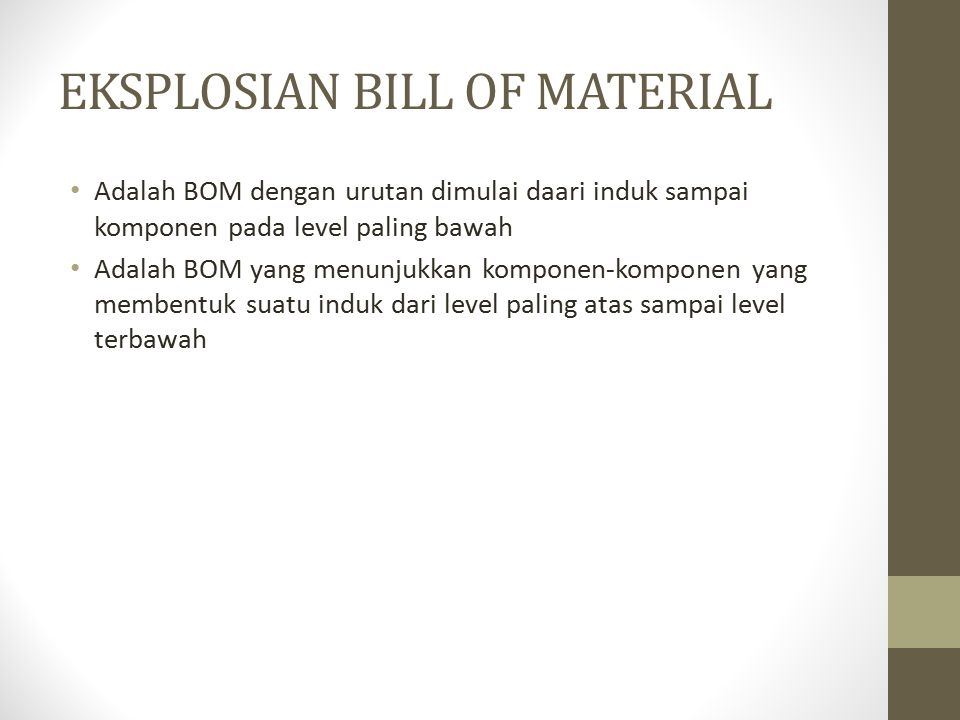 EKSPLOSIAN BILL OF MATERIAL