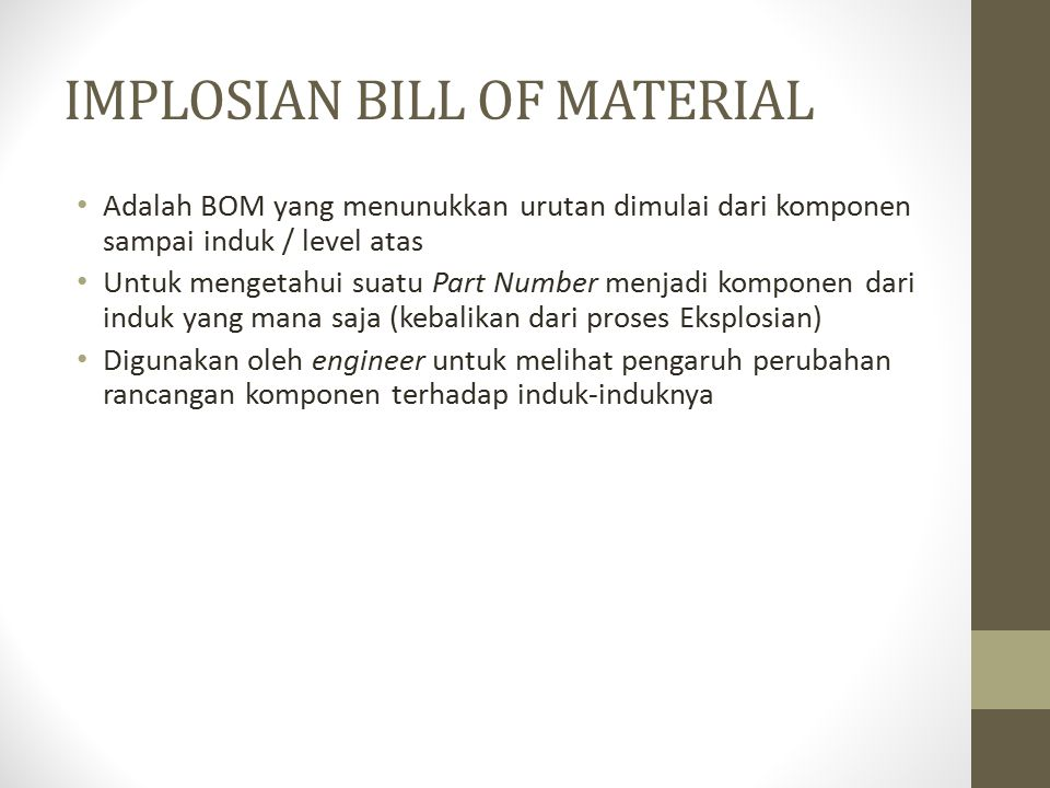IMPLOSIAN BILL OF MATERIAL