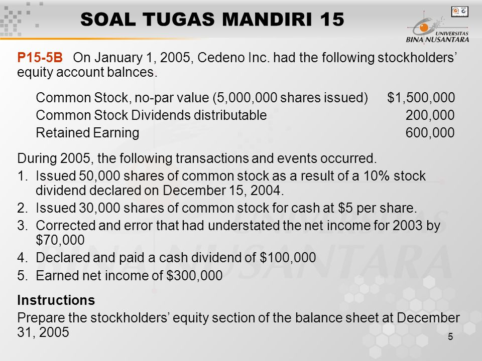 SOAL TUGAS MANDIRI 15 P15-5B On January 1, 2005, Cedeno Inc. had the following stockholders' equity account balnces.