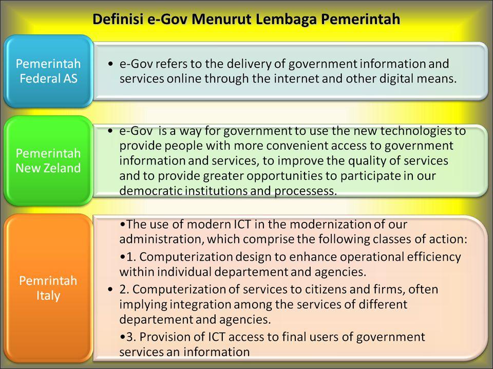 Definisi e-Gov Menurut Lembaga Pemerintah