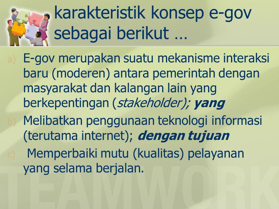 karakteristik konsep e-gov sebagai berikut …