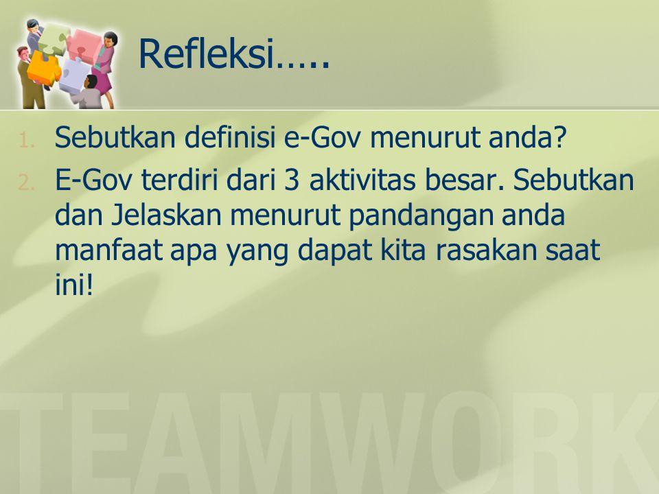 Refleksi….. Sebutkan definisi e-Gov menurut anda