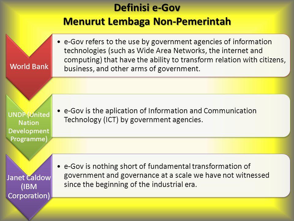 Definisi e-Gov Menurut Lembaga Non-Pemerintah